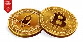 Bitcoin. Stellar. 3d Isometric Physical Coins. Digital Currency. Cryptocurrency. Silver Coin With St poster