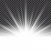 Lighting Effect Sunburst Or Sunbeams On Transparent Background. Vector Illustr poster
