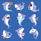 Shark Vector Cartoon Seafish Smiling With Sharp Teeth Illustration Set Of Fishery Character Illustra poster