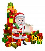 Christmas Cartoon Of Santa Claus Holding A Scroll And Pen Quill Feather With A Huge Stack Of Gifts O poster