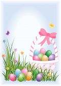 image of happy easter  - Easter eggs in basket and hidden in the grass - JPG