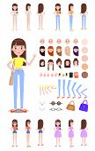 Female Character Constructor With Spare Parts Set. Girl With Spare Hairstyles, Body Parts Templates  poster