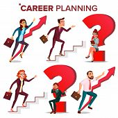 Career Planning Vector. Hr Concept. Find New Job. Huge Red Question Mark. Fast Career Growth. Job Su poster