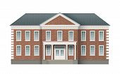 Front View Of Brick Administrative Governmental Building With Grey Roof. Traditional Classic Archite poster