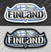 Vector Logo For Finland Country, Fridge Magnet With Finnish Flag, Original Brush Typeface For Word F poster