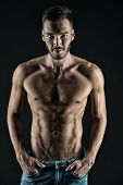 Attractive Body. Athlete With Muscular Body On Confident Face. Man Muscular Torso Tense Muscles Vein poster