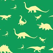 Dinosaur Silhouette Pattern Seamless.  Illustration. Beige Dinosaurs On Green Background. poster