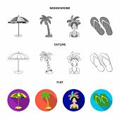 Brazil, Country, Umbrella, Beach . Brazil Country Set Collection Icons In Flat, Outline, Monochrome  poster