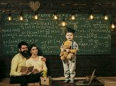 Home School. Support Concept. Kid Holds Teddy Bear And Performing. Boy Presenting His Knowledge To M poster