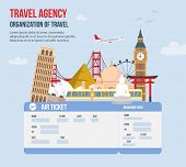 Design For Travel Agency. Time To Travel On Vacation. Travel Around Globe. Advertising Of Travel Age poster