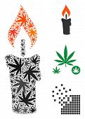 Candle Composition Of Cannabis Leaves In Variable Sizes And Color Hues. Vector Flat Grass Symbols Ar poster