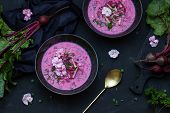 Vegetarian Beetroot Soup With The Flowers. Top View. Copy Space. poster