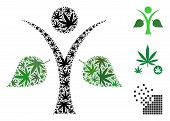 Ecology Man Collage Of Weed Leaves In Variable Sizes And Color Variations. Vector Flat Weed Leaves A poster