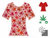 Lady T-shirt Collage Of Weed Leaves In Variable Sizes And Color Tones. Vector Flat Weed Objects Are  poster