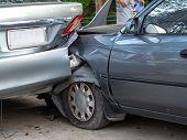 Car Crash Accident On Street With Wreck And Damaged Automobiles. Accident Caused By Negligence And L poster
