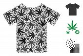 T-shirt Collage Of Weed Leaves In Different Sizes And Color Variations. Vector Flat Hemp Icons Are C poster