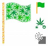 Waving Flag Mosaic Of Weed Leaves In Different Sizes And Color Shades. Vector Flat Weed Items Are Un poster
