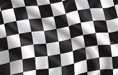 Checkered Flag For Car Racing Or Rally Club. Vector 3d Checkered Pattern Background Of White And Bla poster