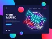 Jazz Club Concept Banner. Jazz Music Neon Sign, Can Use For Web Banner, Infographics, Website Templa poster