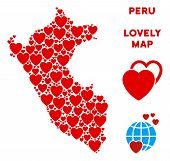 Valentine Peru Map Composition Of Red Hearts. We Like Peru Map Concept. Abstract Vector Territorial  poster