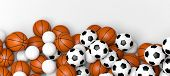 Basketball, volleyball and soccer balls on a white wall banner with blank space. 3d illustration. poster