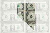 Outline Map Of Nevada With Transparent American Dollar Banknotes In Background