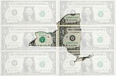 Outline Map Of New York With Transparent American Dollar Banknotes In Background