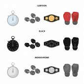 Boxing, Sport, Stopwatch, Watch .boxing Set Collection Icons In Cartoon, Black, Monochrome Style Vec poster
