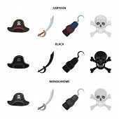 Pirate, Bandit, Cap, Hook .pirates Set Collection Icons In Cartoon, Black, Monochrome Style Vector S poster