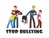 Stop Bullying Concept. Sad Helpless Kid. Negative Persons And Victim. Social Problems Vector Backgro poster