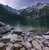 Autumn Landscape Of A High Mountain Lake With A Drake In The High Tatras Morskie Oko, Poland, Zakopa poster