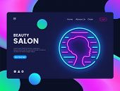 Beauty Salon Neon Creative Website Template Design. Vector Illustration Beauty Salon Concept For Web poster