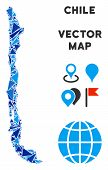 Chile Map Collage Of Blue Triangle Elements In Various Sizes And Shapes. Vector Polygons Are Combine poster