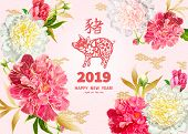 Pig Is A Symbol Of The 2019 Chinese New Year. Greeting Card In Oriental Style. Red And Pink Peonies  poster