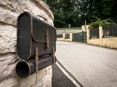 Mailbox In The Shape Of A Schoolbag, Made Of Metal poster