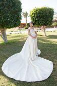 Wedding Woman. Wedding Dress Fashion For Pretty Woman. Wedding Ceremony With Pretty Woman In Beautif poster