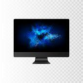 Stock Vector Illustration Realistic Realistic Personal Professional Desktop Computer, Pc. Modern Fla poster