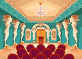 Vector Dancing Hall With Atlas Pillars And Armchairs For Audience, Spectators. Interior Of Ballroom  poster
