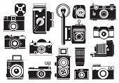 Pictures Set Of Retro Cameras. Vector Monochrome Illustrations. Camera Photo Retro, Photography Vint poster