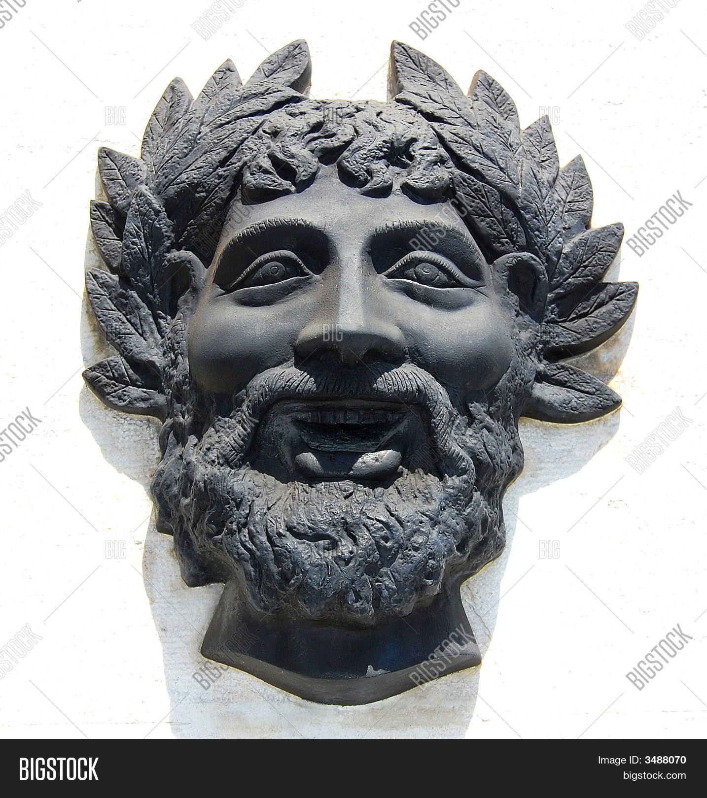 Carved stone face bacchus relief image photo bigstock