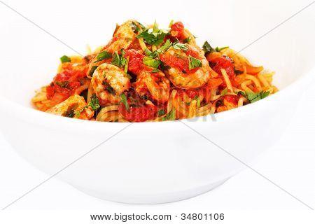 Spaghetti Tomato Seafood Dish