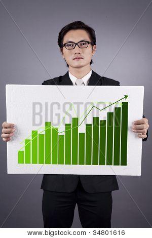 Businessman With Green Business Statistics
