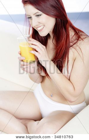 Sexy Woman Enjoying Juice