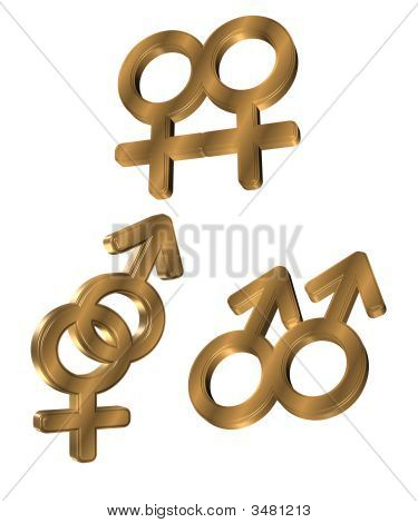 3D Gold Gender Symbols