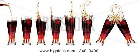 Fresh Cola Splashing Collection Isolated
