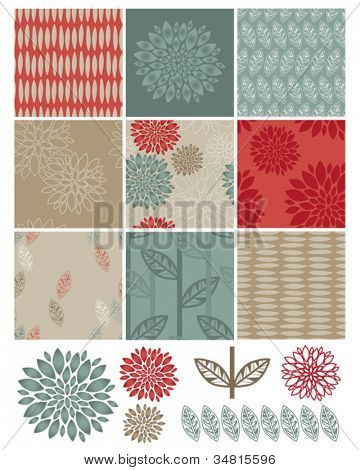 Contemporary Flower Seamless Vector Patterns and Icons.  Use to create digital paper for craft projects or print onto fabric for home furnishings.