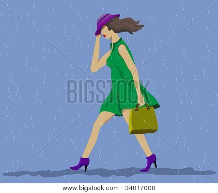 Moves fast woman. Steady rain.