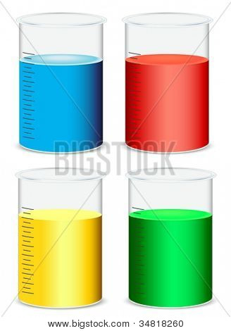 illustration of glass beakers on a white background