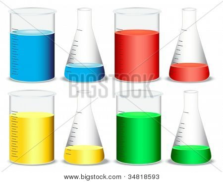 illustration of glass and conical flasks on a white background