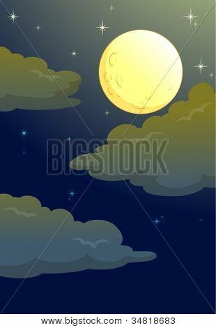 illustration of full moon in a dark night